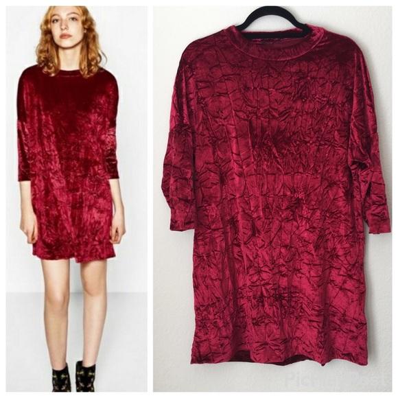 378b3f2d Zara Burgundy Red Crushed Velvet Dress. M_5a4a894933162730a204f1a9